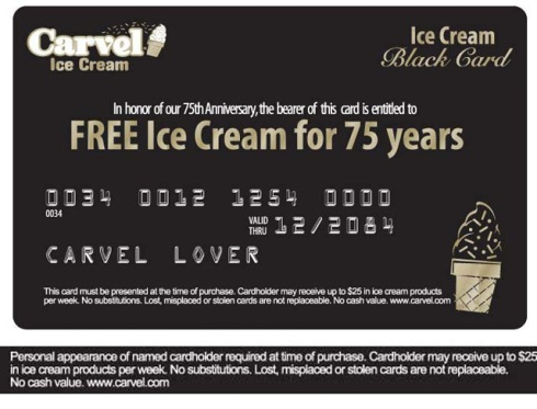 Free Carvel Ice Cream Card