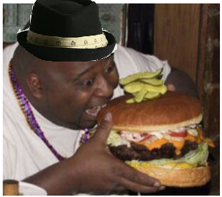 Fat Black Man Eating Burger 59