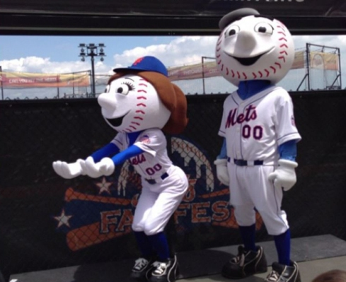 "No wonder Mr. Met is always smiling. Mrs. Met obviously takes Tracy Jordan's advice. (""Ladies, give up the butt!!"")"