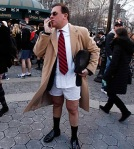 A man talks on his cell phone after taking part in the 10th Annual No Pants Subway Ride in New York City